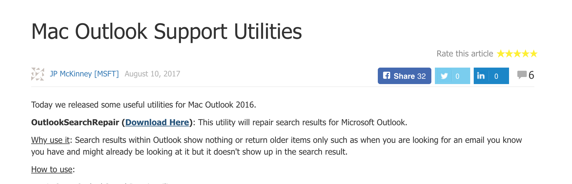 Outlook for Mac search feature is unable to find results - SOM IT